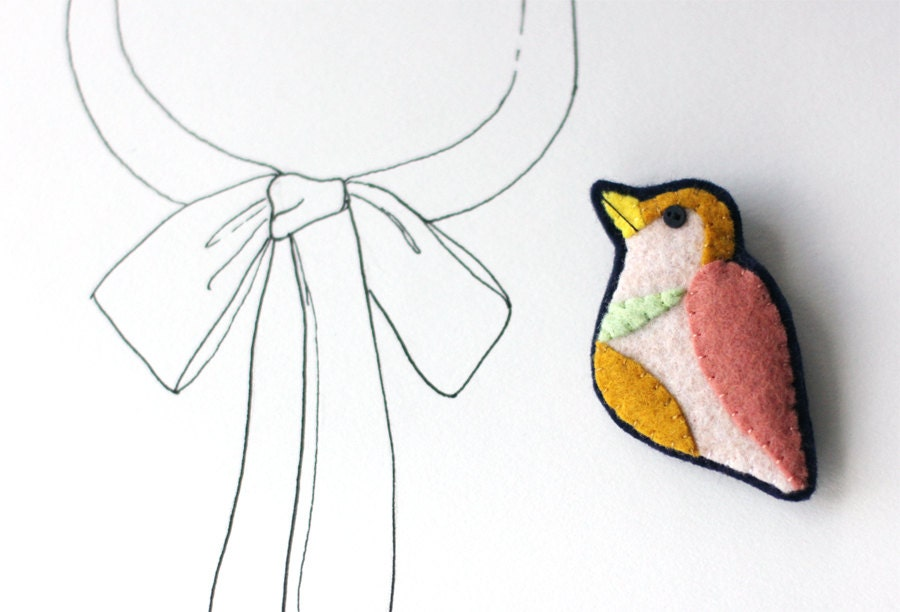 Bird Brooch Felt Pin - Colorful Peach Mustard Mint Colorblock - myhideaway