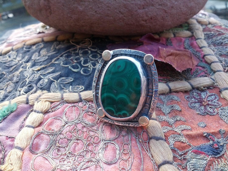 Huge Malachite Shield Ring Sterling Silver 14k Rose Gold