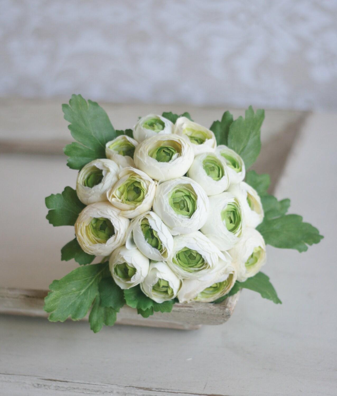 Шелковый невесты Букет композиция Белый крем Ranunculus