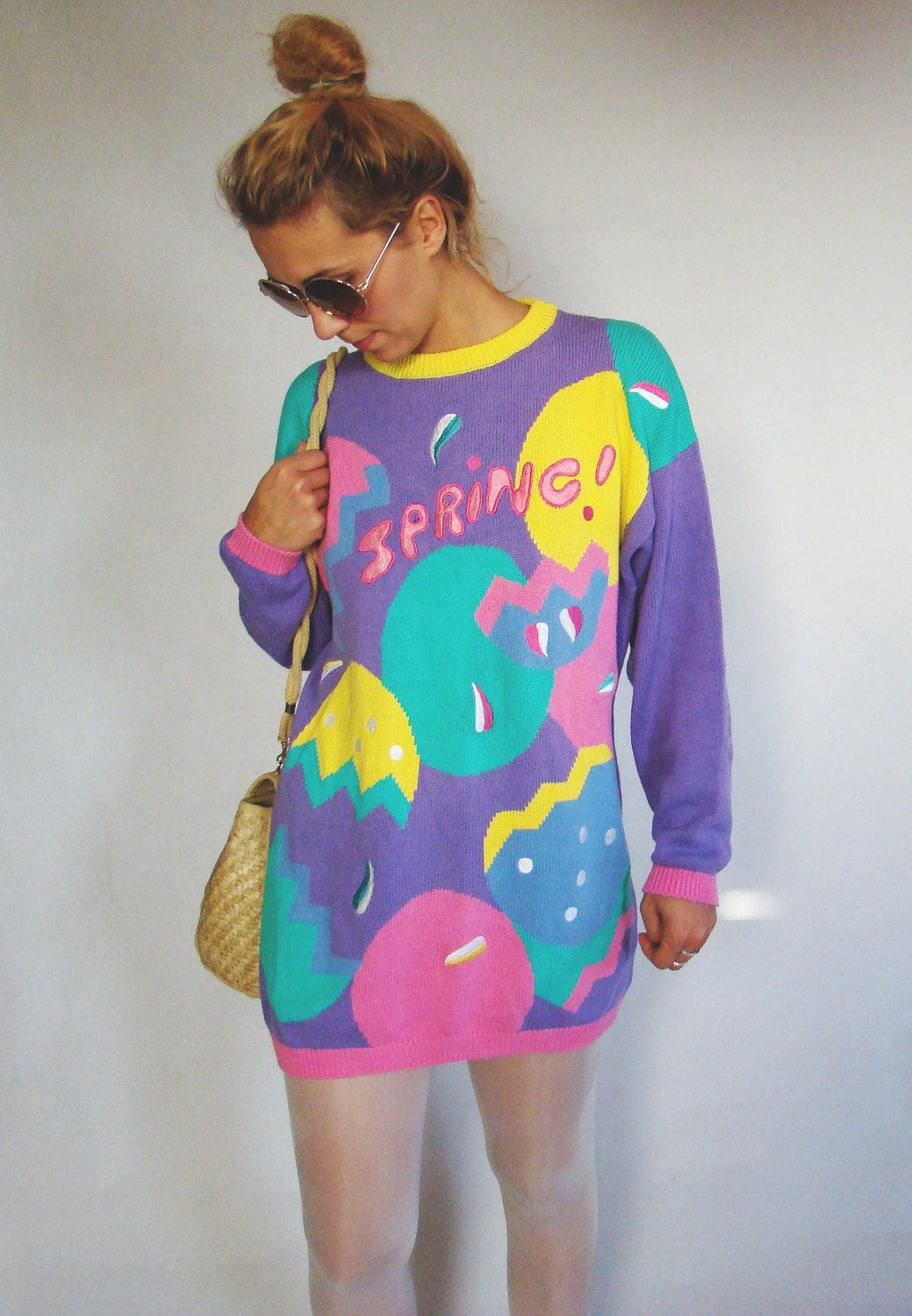 Vintage 80's Chunky Knit Sweater/Colourful Mini dress oversized Pullover/