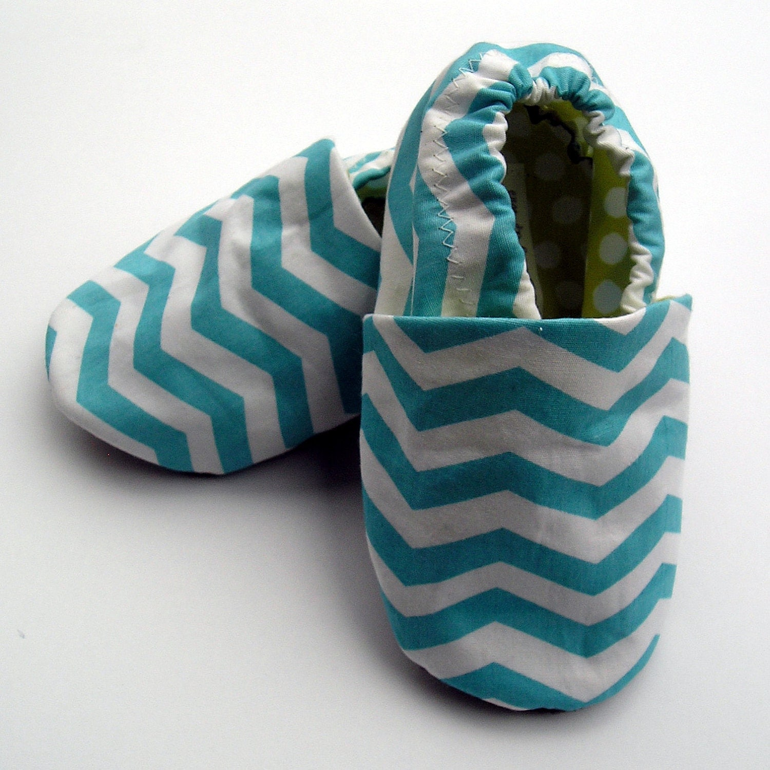 Ready to Ship 6  -12 months Organic Baby Blue Chevron Stripes Shoes in Turquoise and White with Lime Green Dotty Linings Handmade Baby Shoes