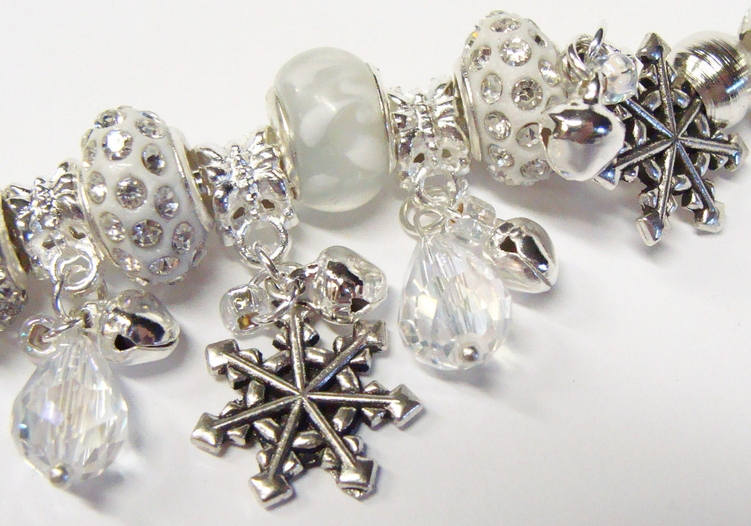 Winter Wonderland with Crystals and Snowflakes