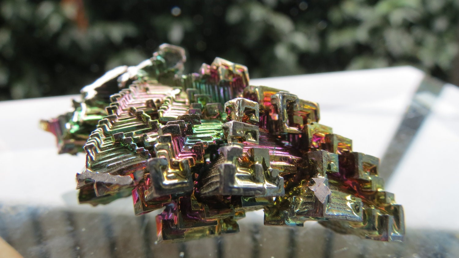 ON SALE Vintage Bismuth Metal Crystal Man-Made 33.6 grams Mayan Pyramid