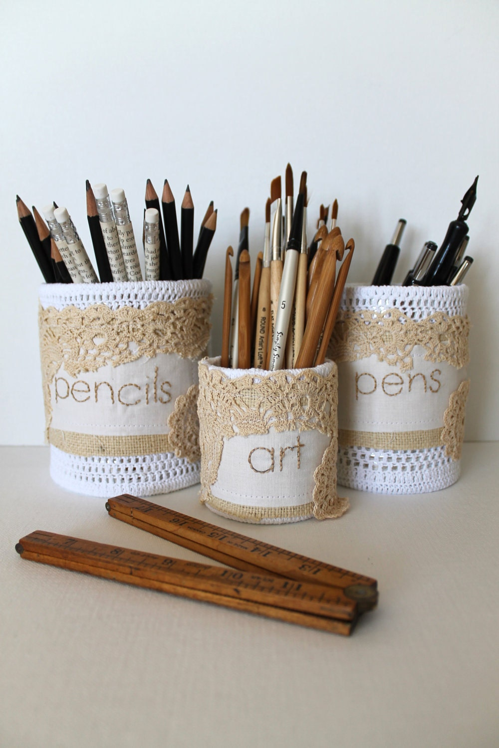 Desk Caddy Pencil Holder Upcycled Desk Organizer Set of Three Crochet Tin Cans Organic Useful Art
