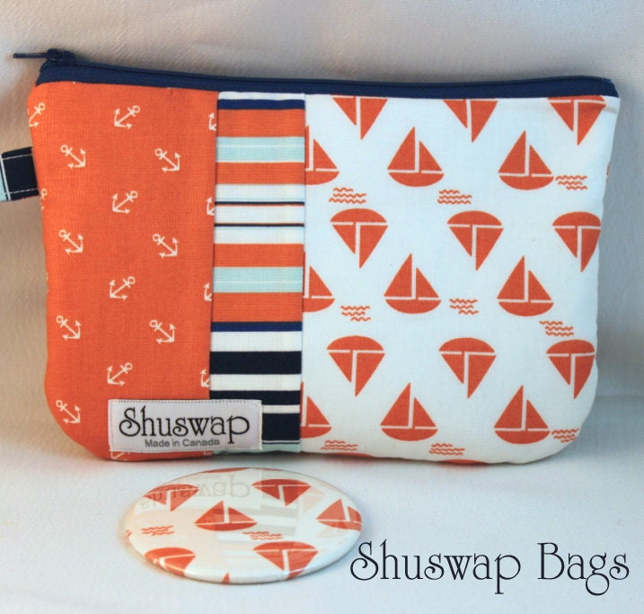 Anchors Away  Wristlet and Mirror Set
