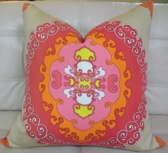 Decorative Designer pillow cover-  22X22 - Trina Turk - Super Paradise print  in punch