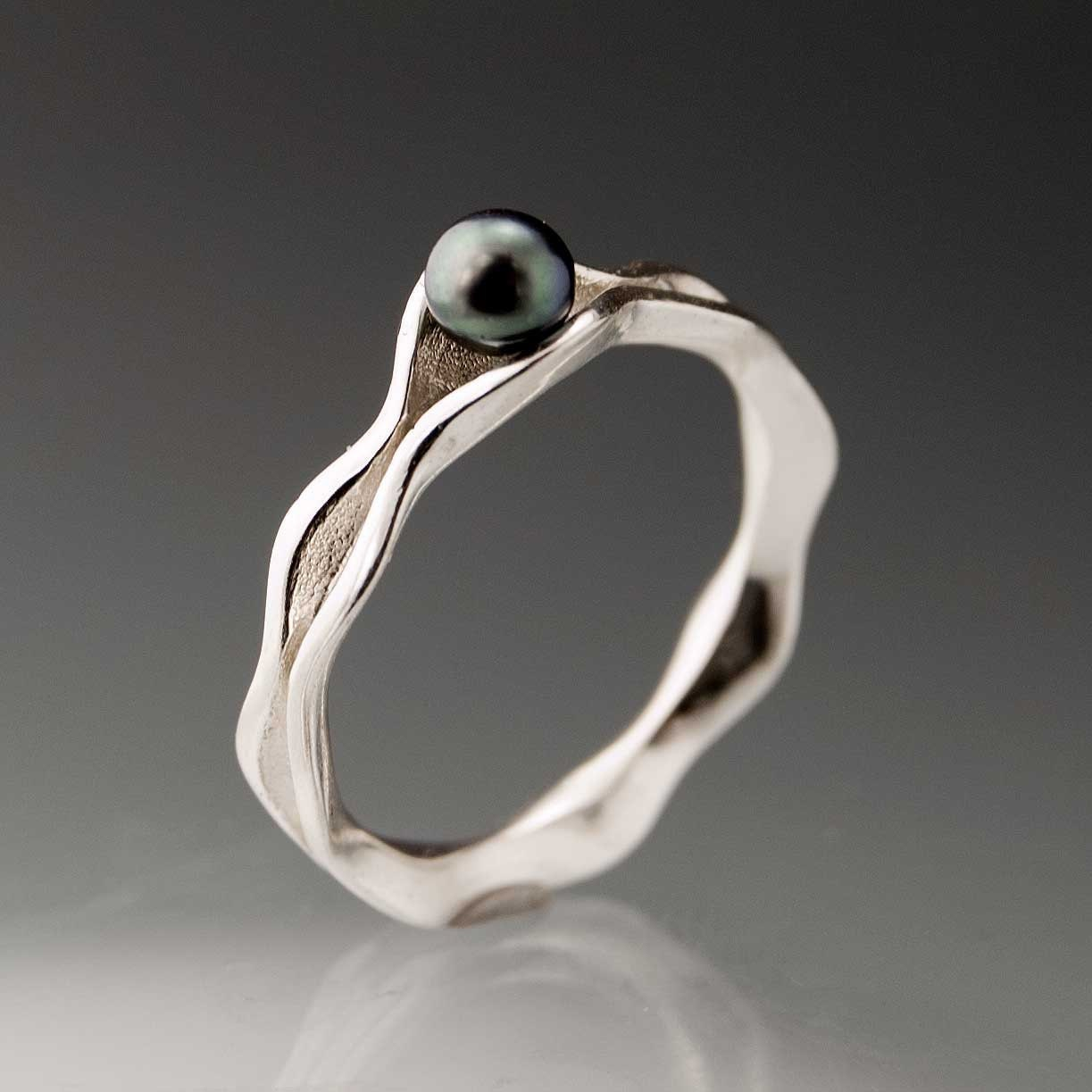 Black Pearl Engagement Rings On Black Pearl Wave Wedding Engagement Ring In  By Nodeformweddings