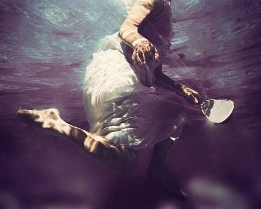Light My Way - deep violet blue underwater 11x14 Photograph - dreamy surreal portrait - 25% OFF SALE