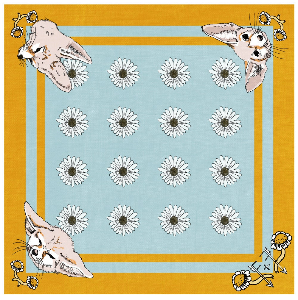 "printed cotton scarf - cotton voile - Fennec Foxes - 25"" x 25"""
