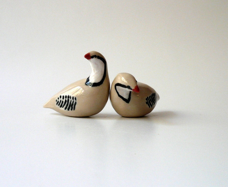 A Pair of Miniature Partridges - CrowWhitePottery