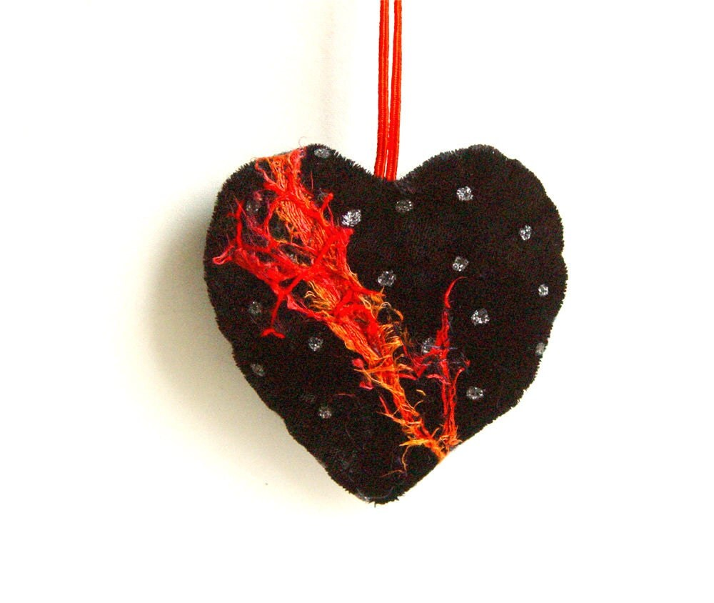 RED and Black HEART, Textile Ornament, Quilted Heart, Embroidered Heart