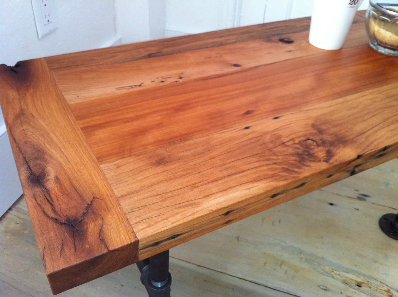 Reclaimed barnwood coffee table, modern industrial style
