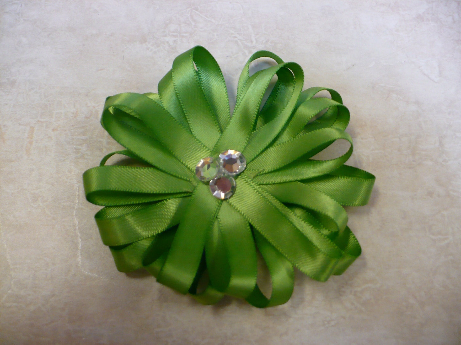Spring Green Sateen Hair Bow with Three Rhinestones