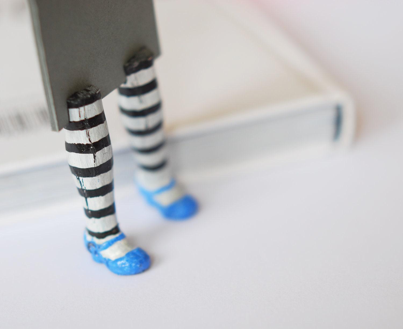 Alice in Wonderland. Unusual art bookmark. Legs in blue shoes. back to school. geometry children gift . - MyBookmark