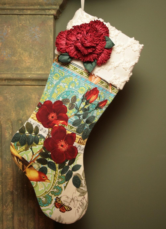 Красные розы, птиц и бабочек Рождества чулок с Vintage манжеты синель и Дамских Цветы