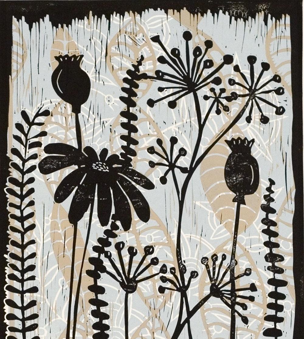 Meadow a color linocut by Mariann Johansen-Ellis M2