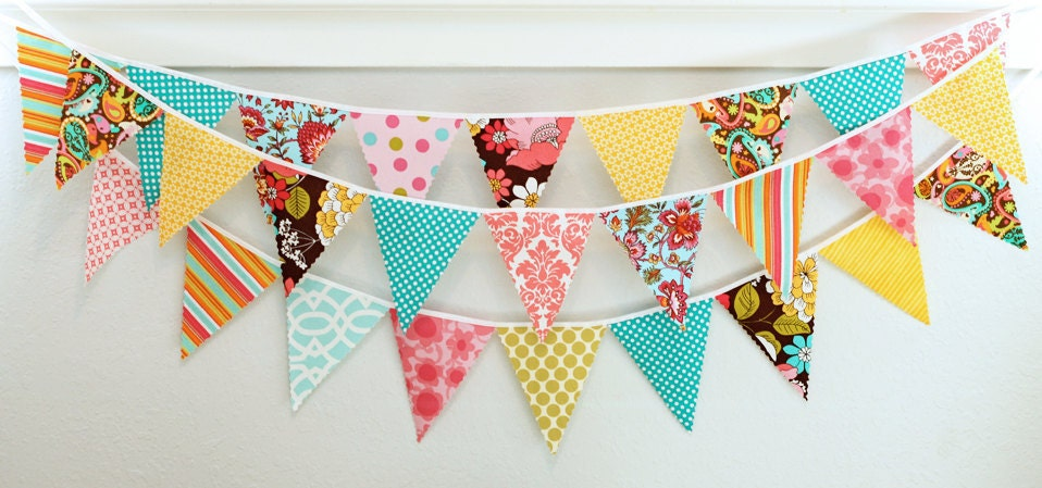 Mini pennant fabric banner - bunting in pink, turquoise, and yellow