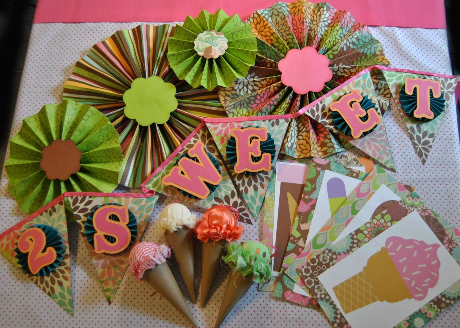 sale ice cream party decorations pink green orange brown blue