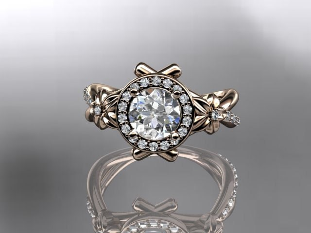 14kt  rose gold diamond leaf and vine wedding ring,engagement ring ADLR89