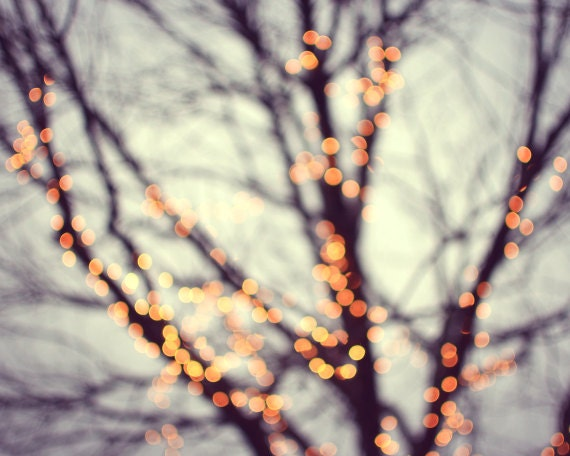 Tree photograph  - winter nature sparkle bokeh lights - evening night glow orange peach magical dreamy muted blue  - 8x10 - Turn Into Stars - LupenGrainne