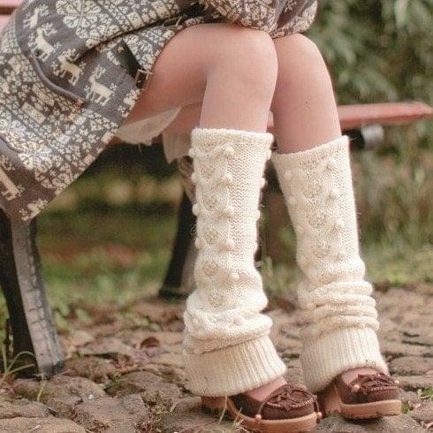 Cream Wool Dotted Leg-warmers