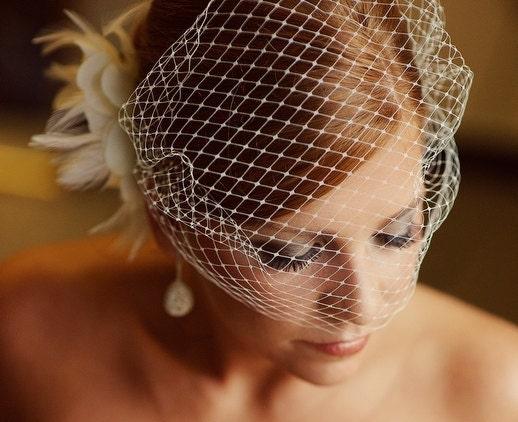 Ivory Bridal Russian Netting Blusher Birdcage Veil