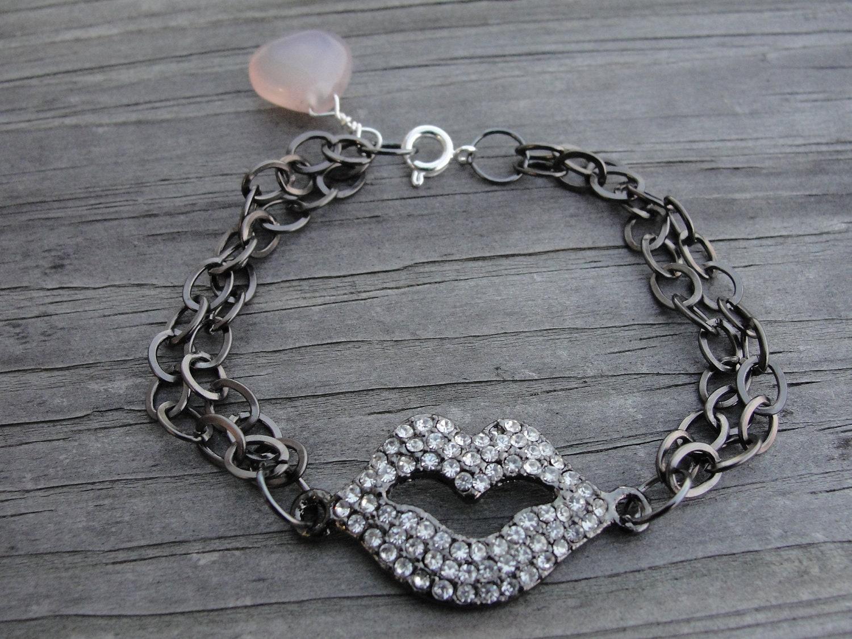 Kiss Cancer Goodbye Crystal Lips Rose Quartz Awareness Bracelet