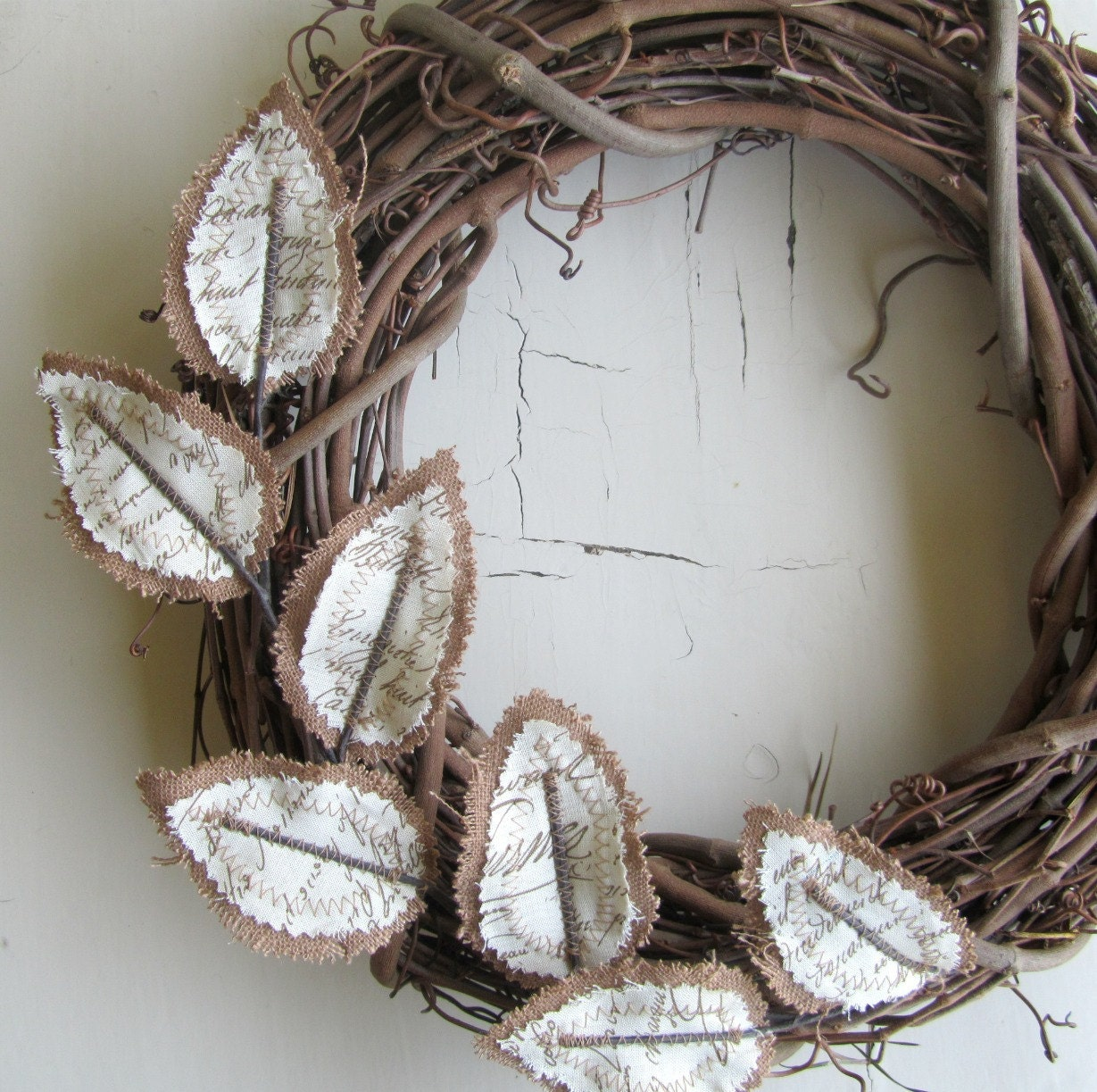 Fabric Leaf Wreath - Burlap Brown Linen Antique Handwriting Script Christmas Gift Idea - janejoss