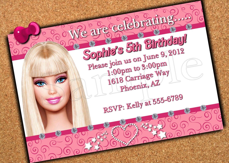 barbie birthday invitations templates .