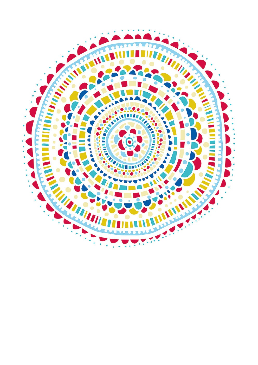Hand Drawn Mandala Design, Instant Digital Download, Digital Clip Art File, Wall Art, jpeg/png, Blue, Red, Yellow, Aqua - HeartBoundStore