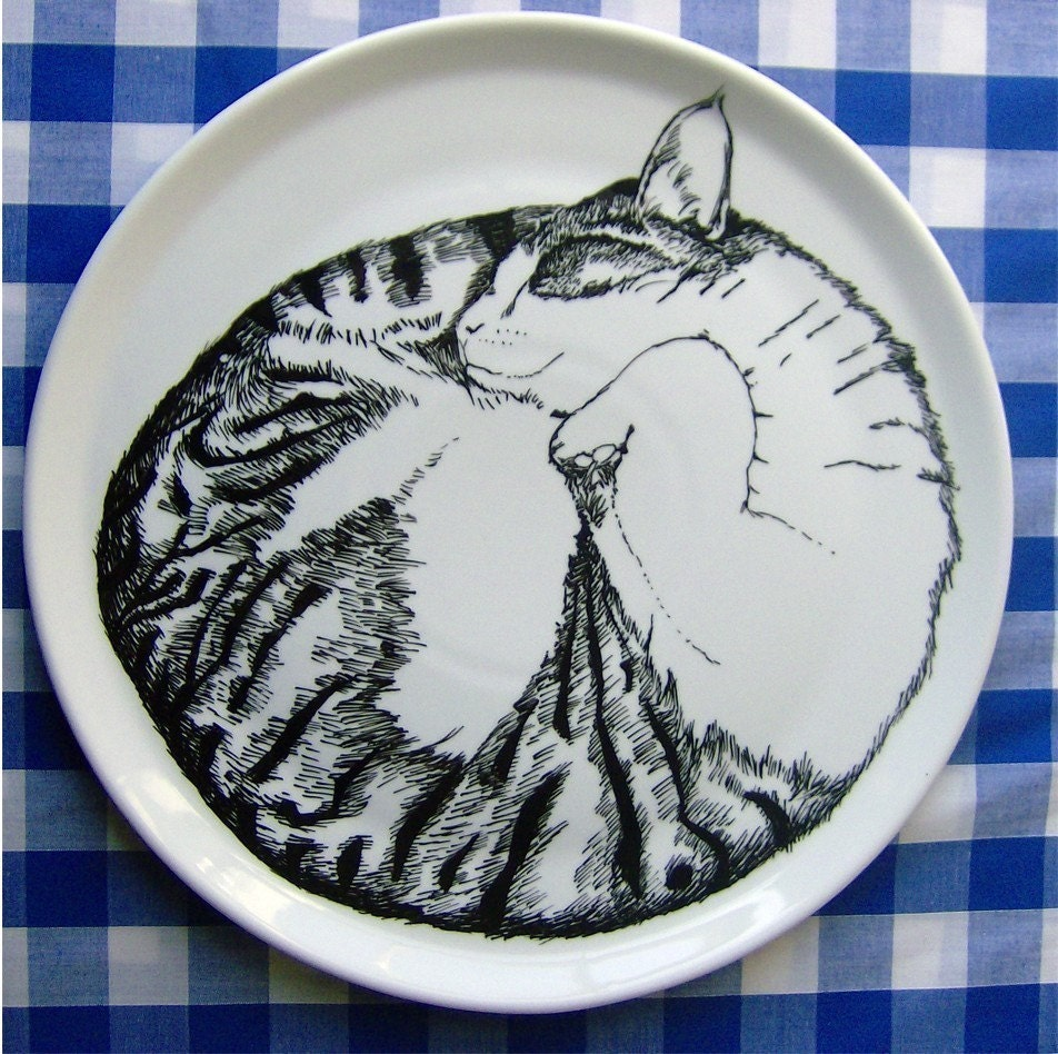 Serving Plate - Cat Sleeping