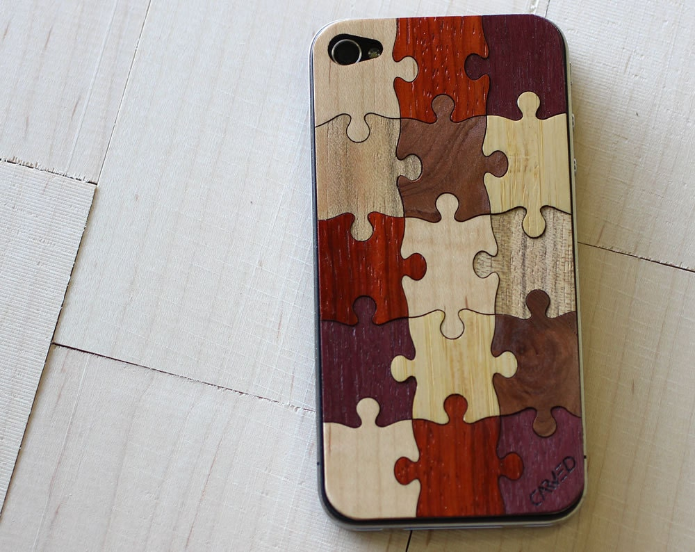 Random Puzzle - Real Wood iPhone 4/4S Skin (Front & Back Cover) Made in the USA - FREE Priority Shipping - carvedproducts