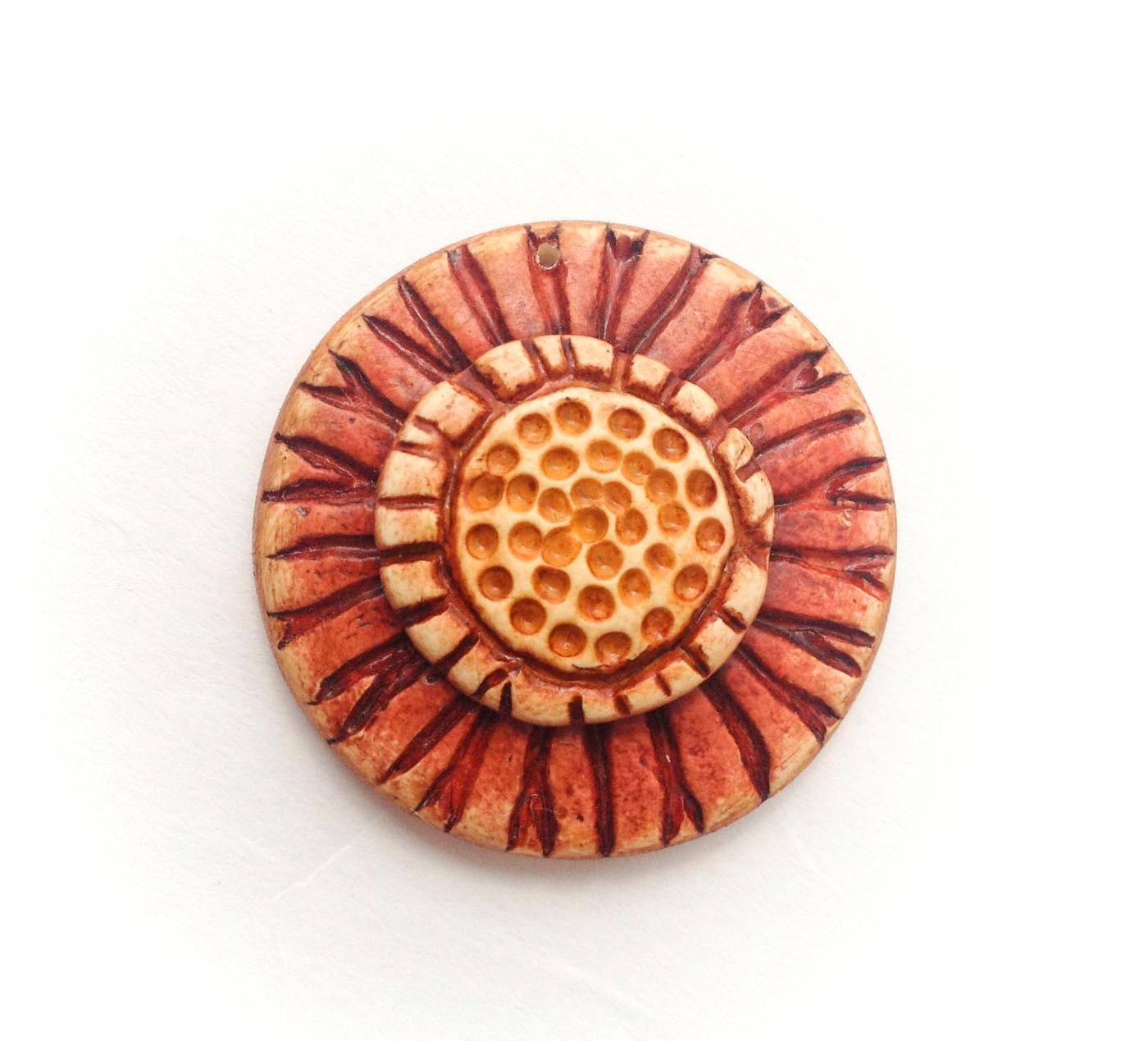 Boho Sunburst Blossom Polymer Clay Pendant - Distlefunk2
