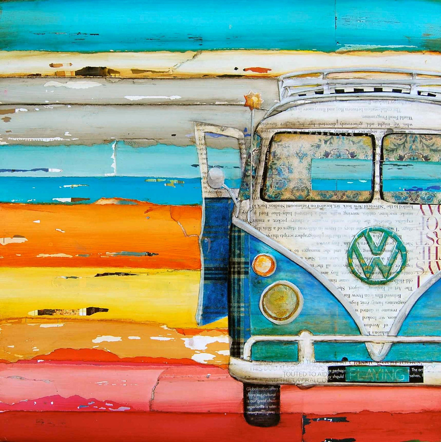 "Vintage Vw Volkswagen Van at Beach - ""Playing Hooky"" - Fine Art Print - 16x20"