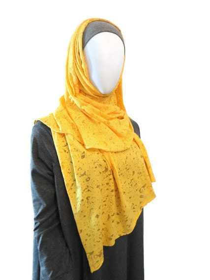 Textured yellow Cotton jersey stretch Shela  subtle Scarf - islamicsolutions14