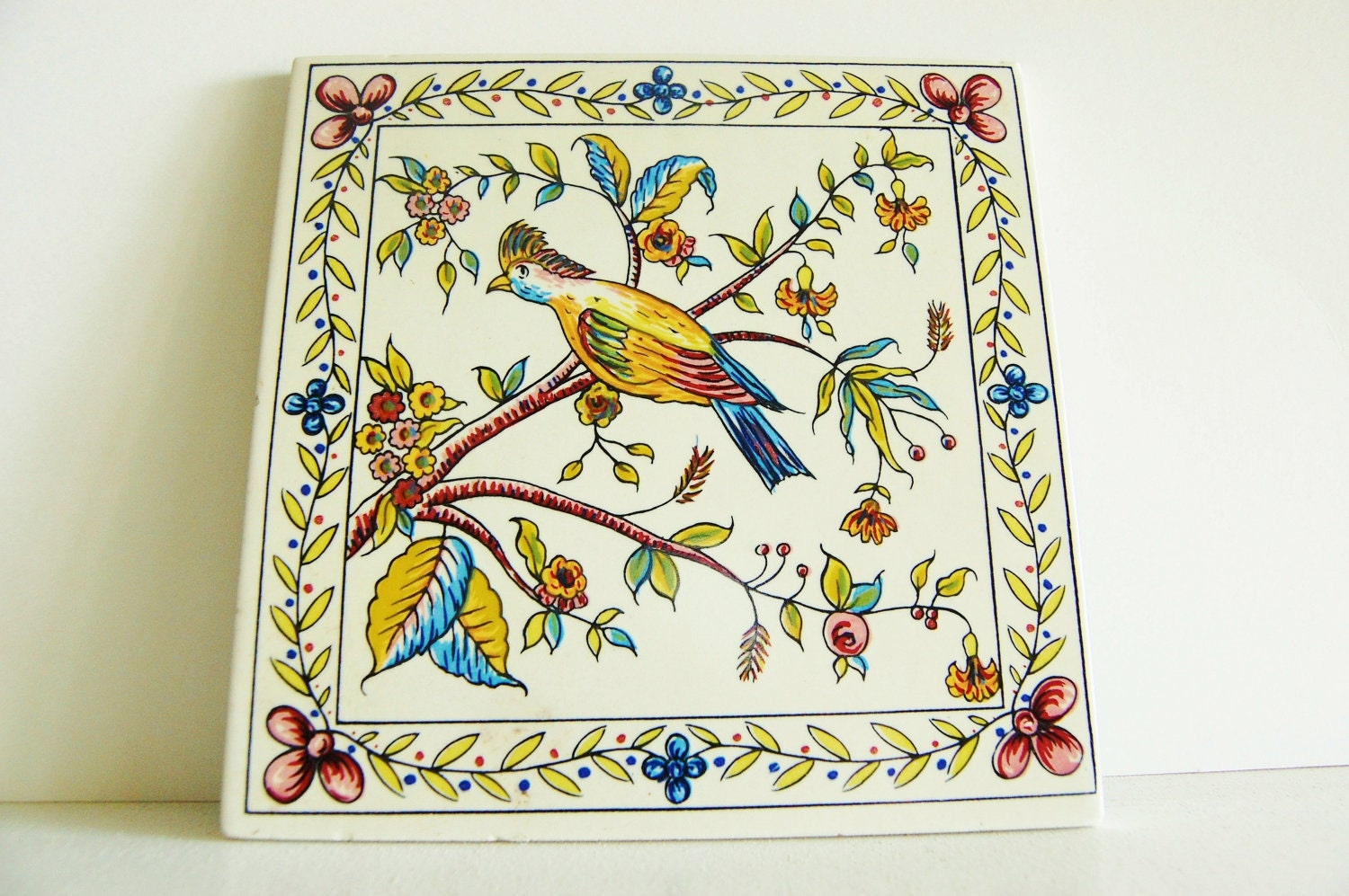 Vintage Bird Art Tile
