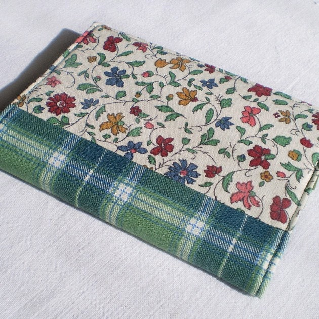 Fabric Journal - Italian Flowers - Handmade Fabric Cover A6 Notebook, Diary - Green, Red, Blue, Yellow Floral - PatchworkMill