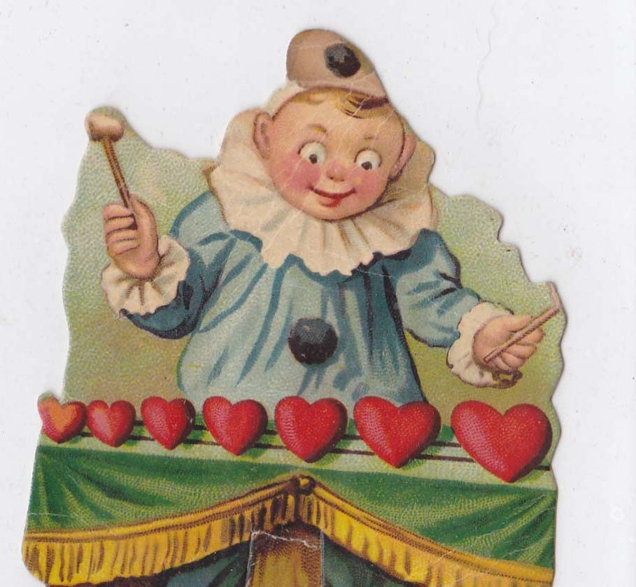 Vintage Valentine Clown Cut Out Stand Up Card vvc006