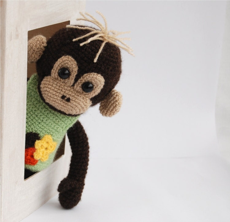 stuffed monkey, an amigurumi crocheted animal, plushie toy for children, one of a kind doll, dark brown, beige and yellowgreen