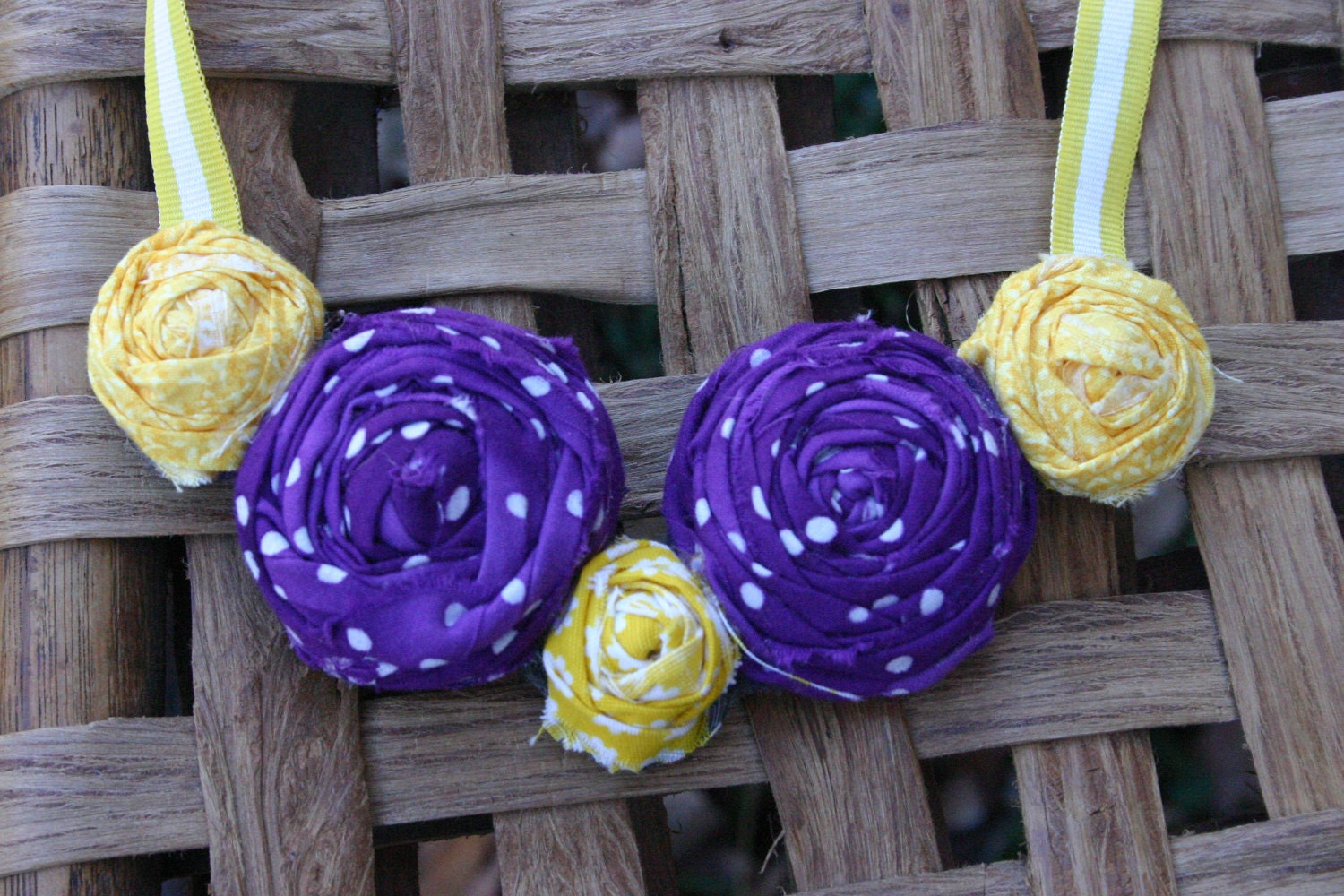 Rosette Necklace- Purple and Gold