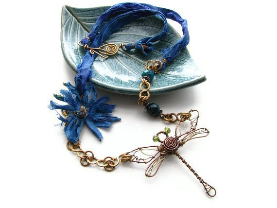 Blue Wire Wrapped Dragonfly Statement Necklace with Sari Silk Ribbon and Hammered Brass Chain- Dragonfly Summer - heversonart
