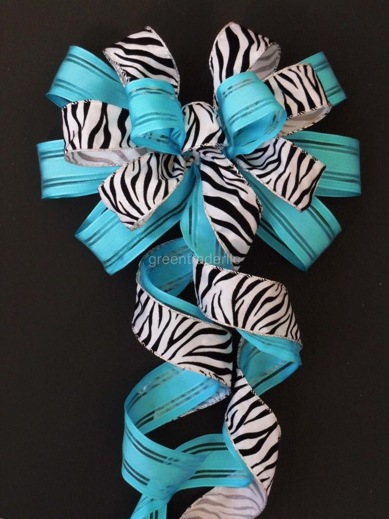 Handmade Turquoise Black White Silver Zebra Wedding Pew Bow Anniversary