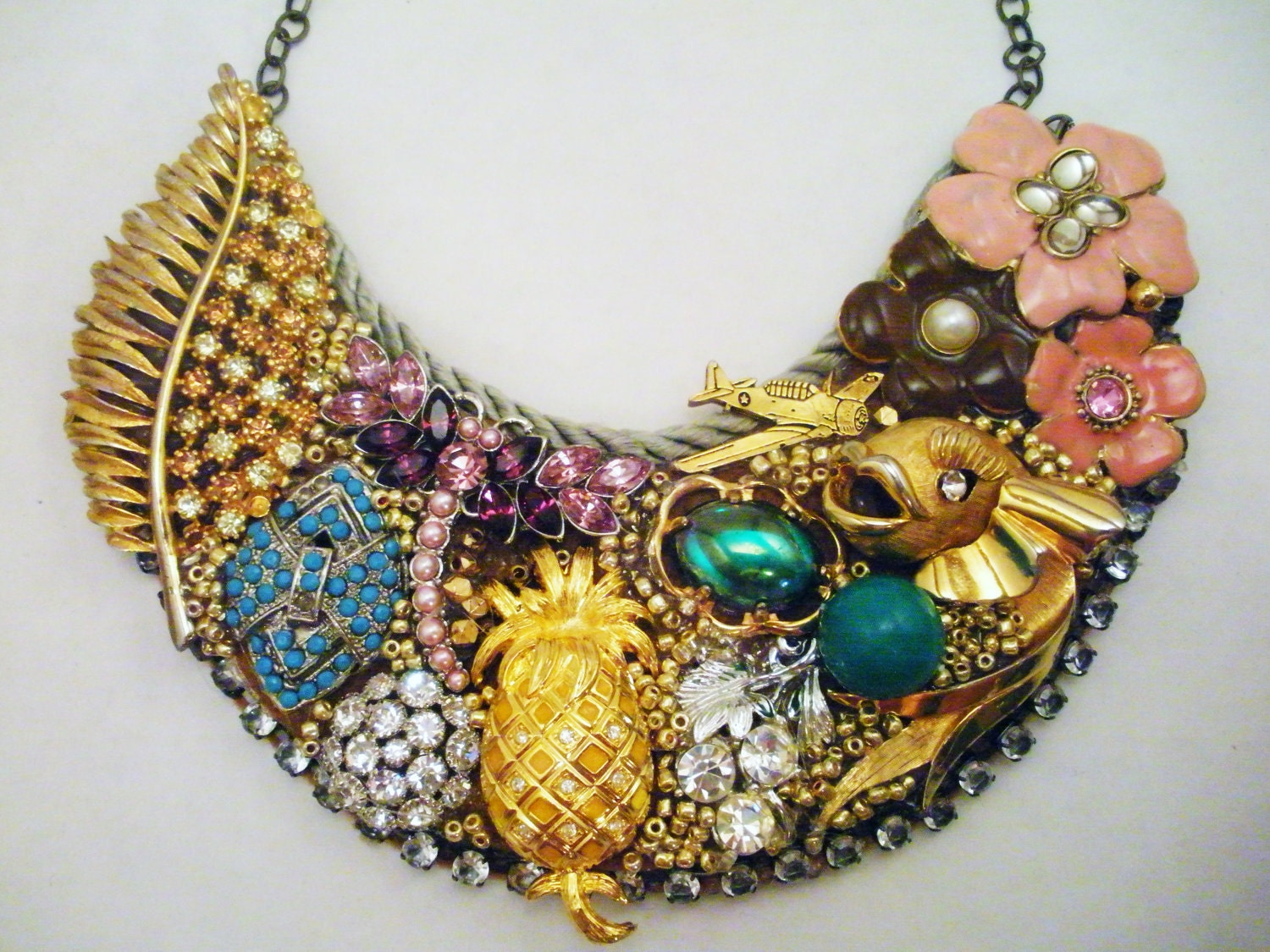 Belle-Etoile: Necklace Made Entirely of Vintage Baubles on BinkysNest.com