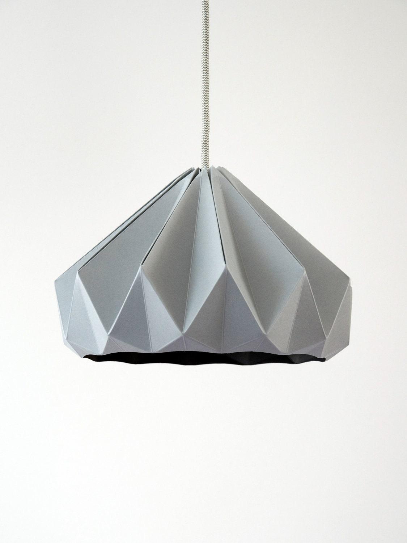 Chestnut paper origami lampshade grey - nellianna