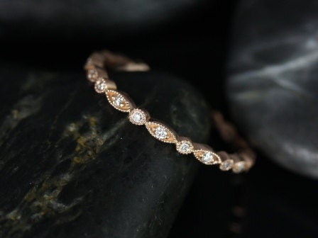Ultra Petite Bead & Eye 14kt Rose Gold Vintage Style WITH Hand Milgrain Beading Eternity Band (Available in other metals and stones)