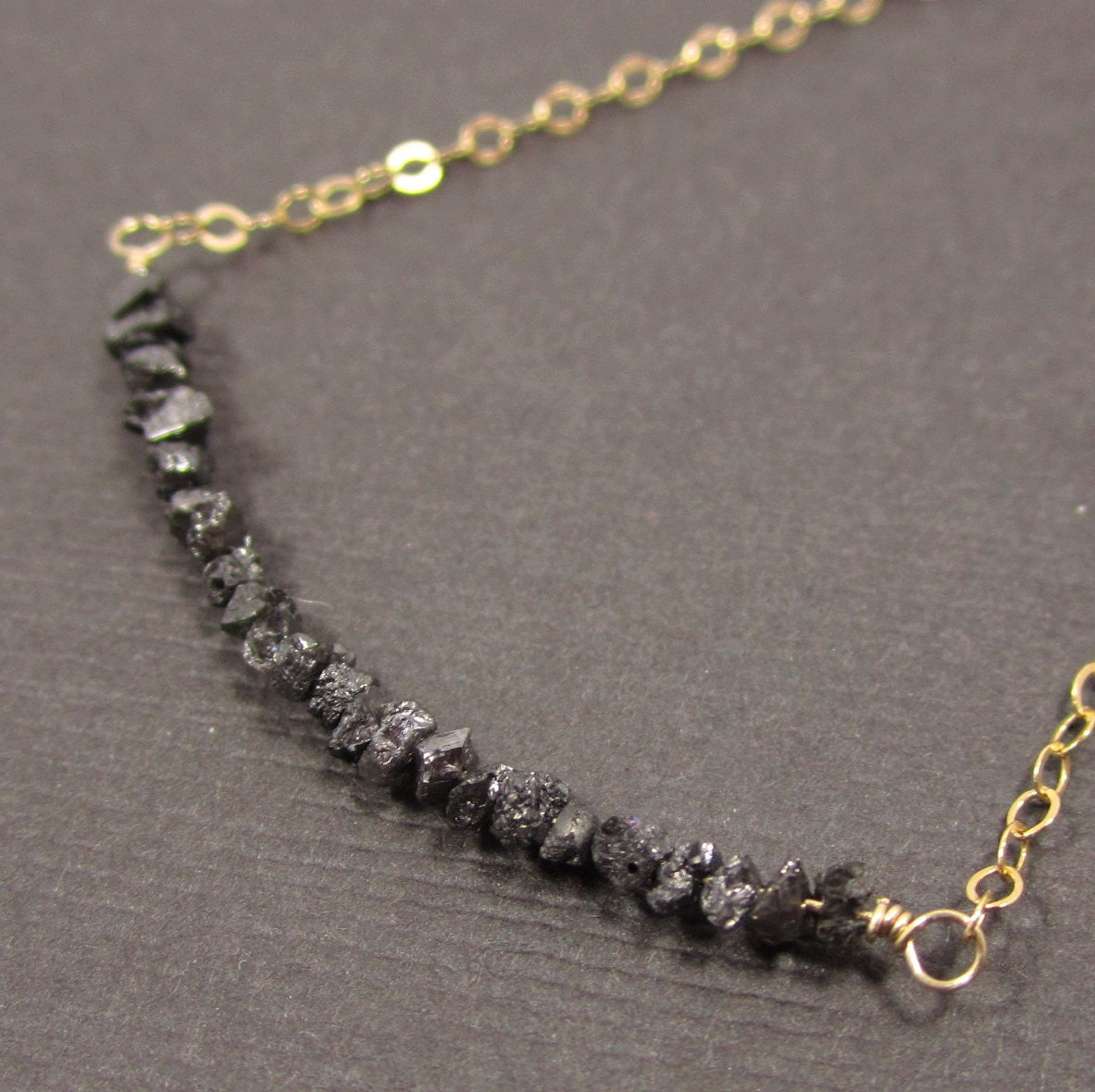 On A Highwire - Shimmering Midnight Black Diamond Druzies and 14k Gold Filled