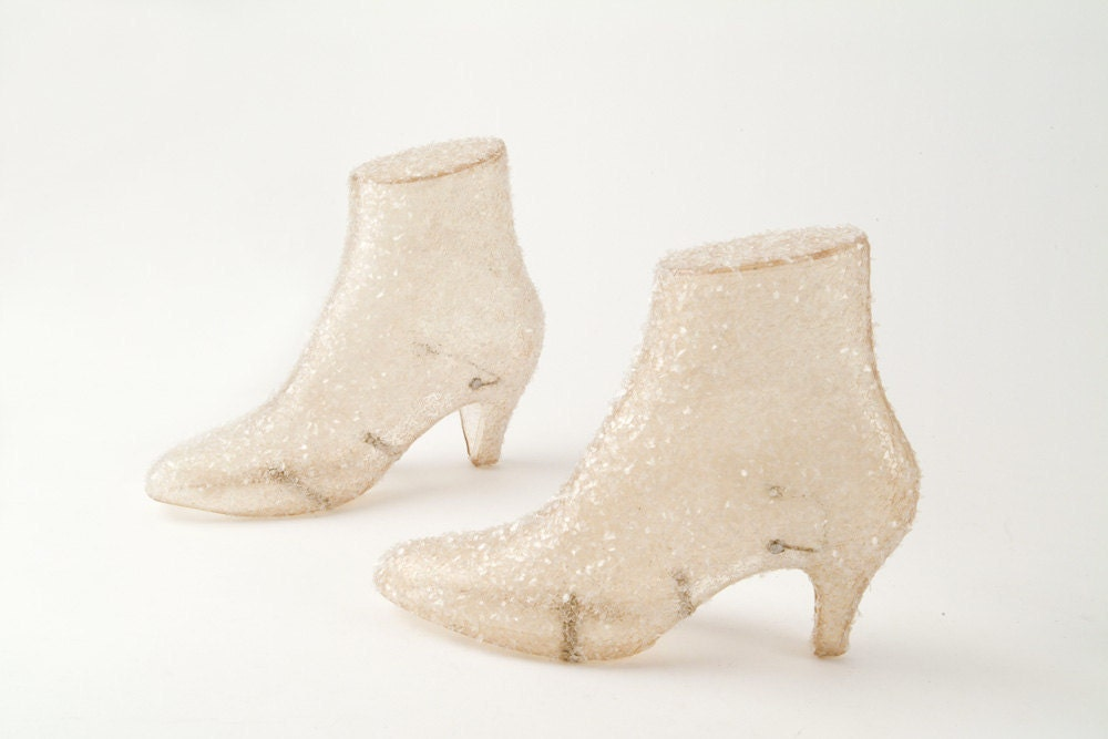 Glass Glittered Mannequin Shoe Display Forms - fallaloft