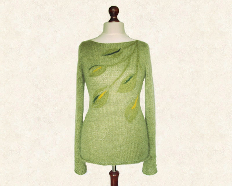 Olive green knit woman sweater pullover with felted leaves, boat neck, made of alpaca and kid silk