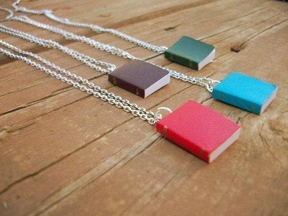 Bookworm - Real Miniature Book Necklace