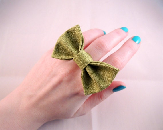 Adjustable Fabric Bow Ring - Light Green Cotton Fabric - Silver-tone metal band - Super cute, pick your COLOR - Free U.S. S/H